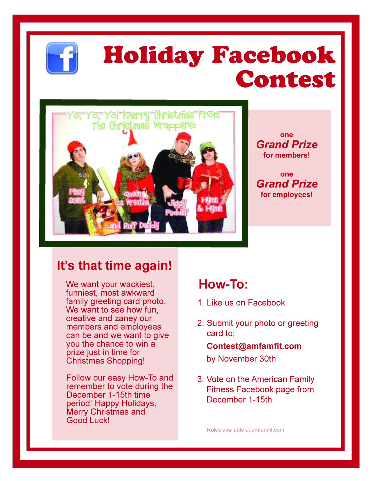 Holiday greeting card contest affwestend this is a contest that pits member against member and employee against employee there are two prizes to be won kristyandbryce Image collections
